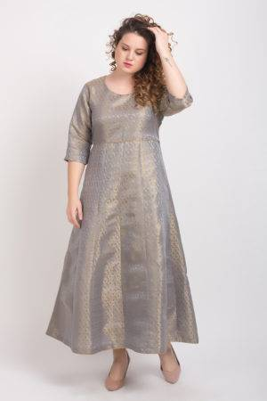 Brocade Anarkali Grey 3