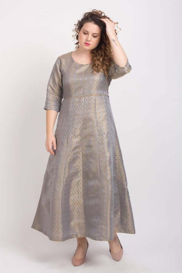 Brocade Anarkali Grey 3