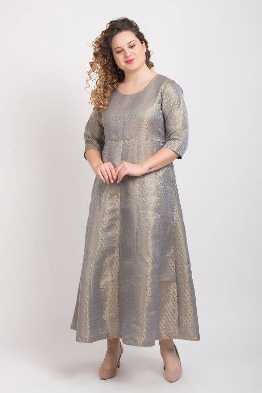 Brocade Anarkali Grey 4