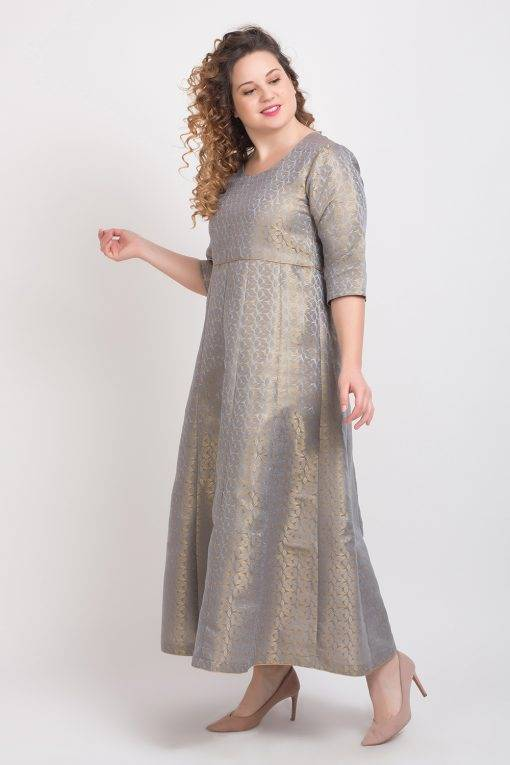 Brocade Anarkali Grey 5
