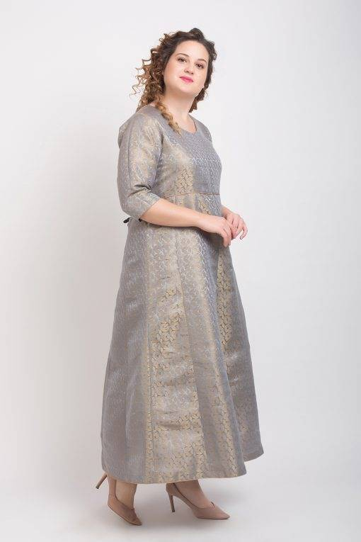 Brocade Anarkali Grey 6