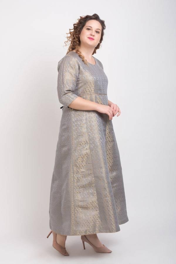 Brocade Anarkali Grey 6