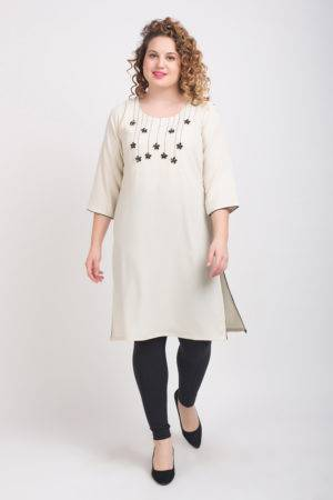 Off White Kurti With Stone Work 4