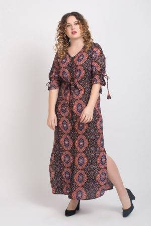 Brown Front Open Maxi Dress2