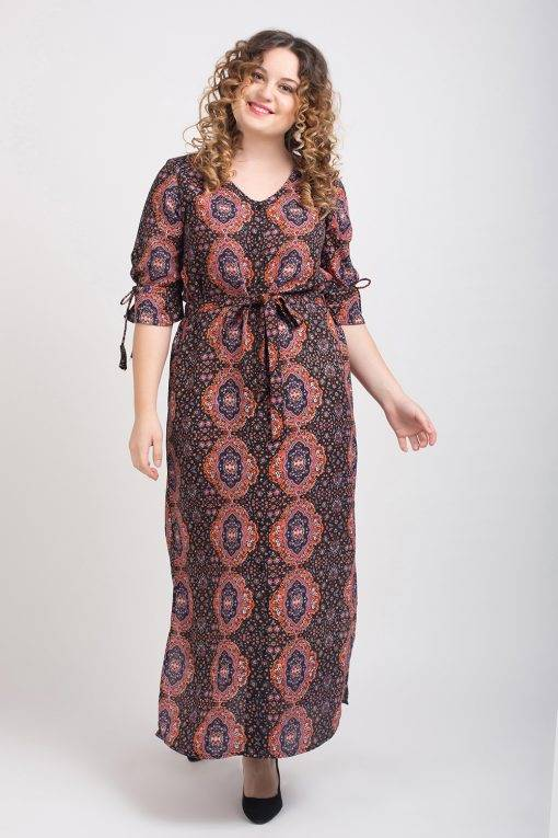 Brown Front Open Maxi Dress4