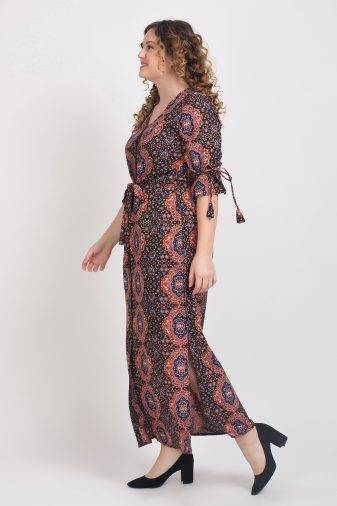 Brown Front Open Maxi Dress5