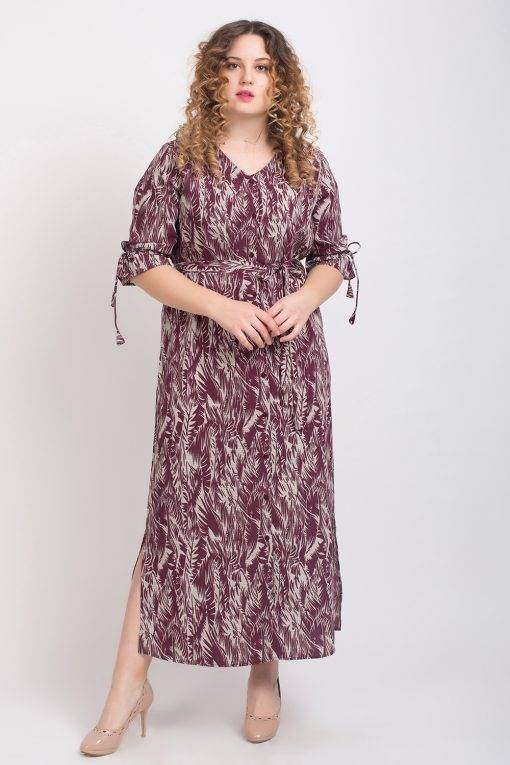 Wine Printed Maxi Dress3