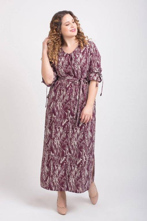Wine Printed Maxi Dress4