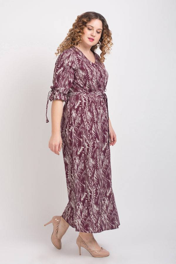 Wine Printed Maxi Dress6