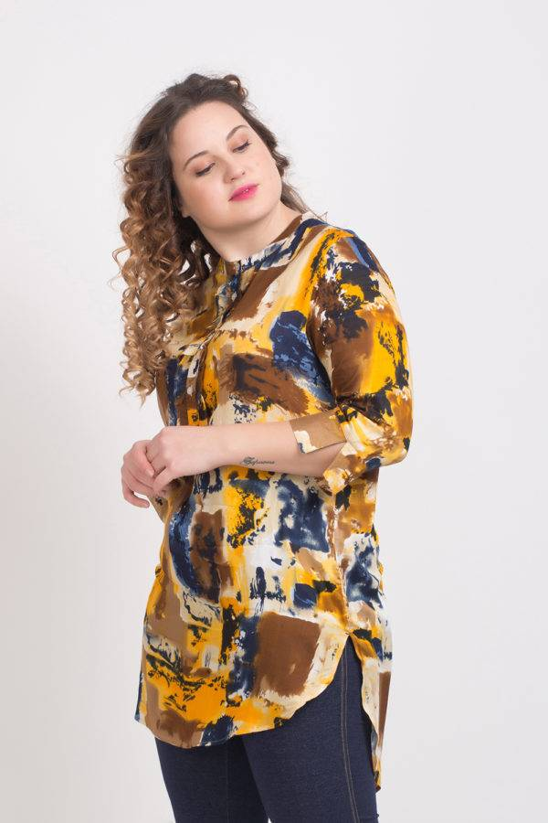 LASTINCH Yellow Printed Rayon Short Kurti With Closed Neck Button Closer4