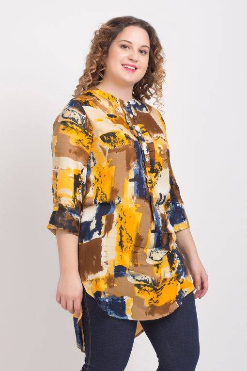 LASTINCH Yellow Printed Rayon Short Kurti With Closed Neck Button Closer5