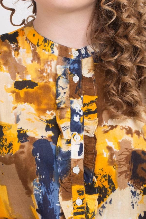 LASTINCH Yellow PrintedRayon Short Kurti With Closed Neck Button Closer7