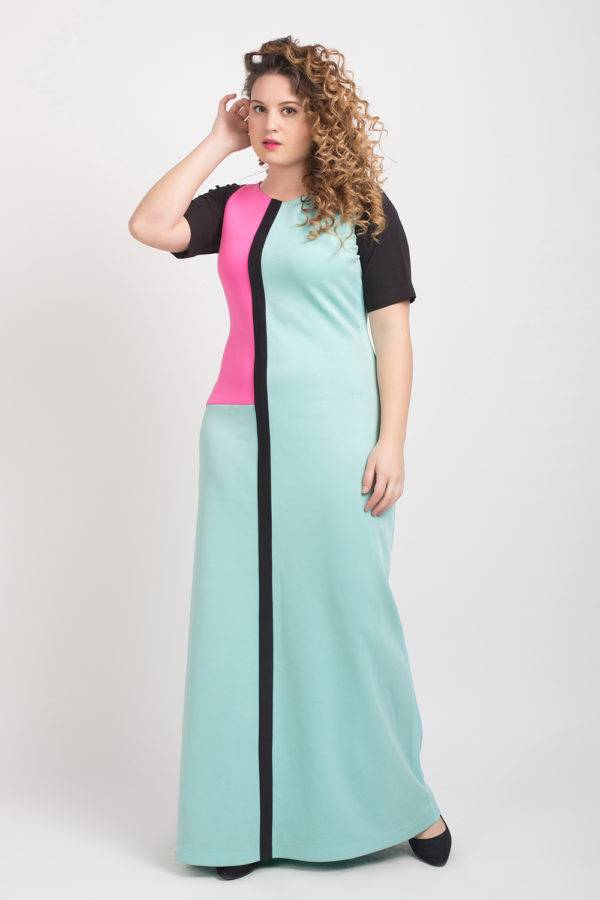 Turquoise, Hot Pink & Black Color Block Maxi Gown2