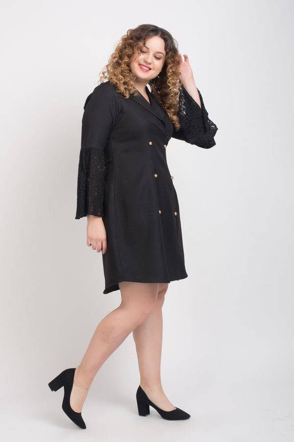 Trench Dress With Lace Sleeves5