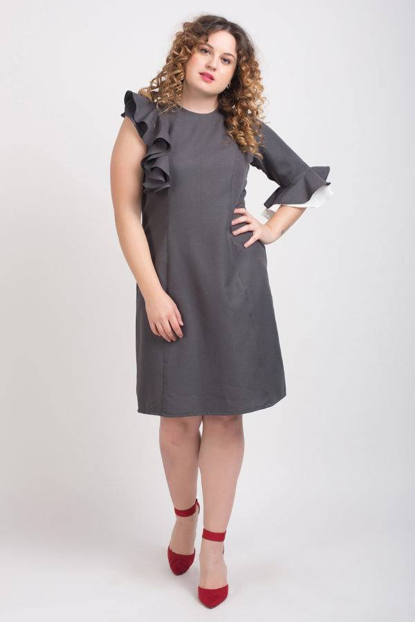 GREY DRAPE DRESS4