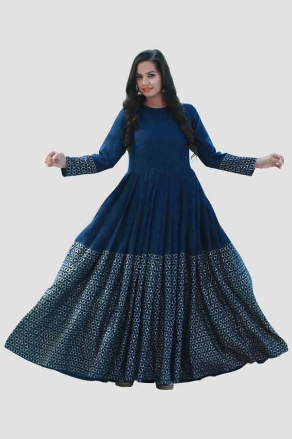 Blue Gold Block Print Dress3