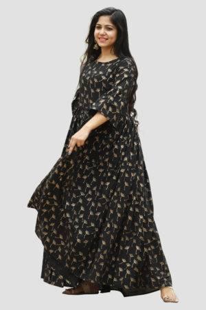 Black Block Print Dress1