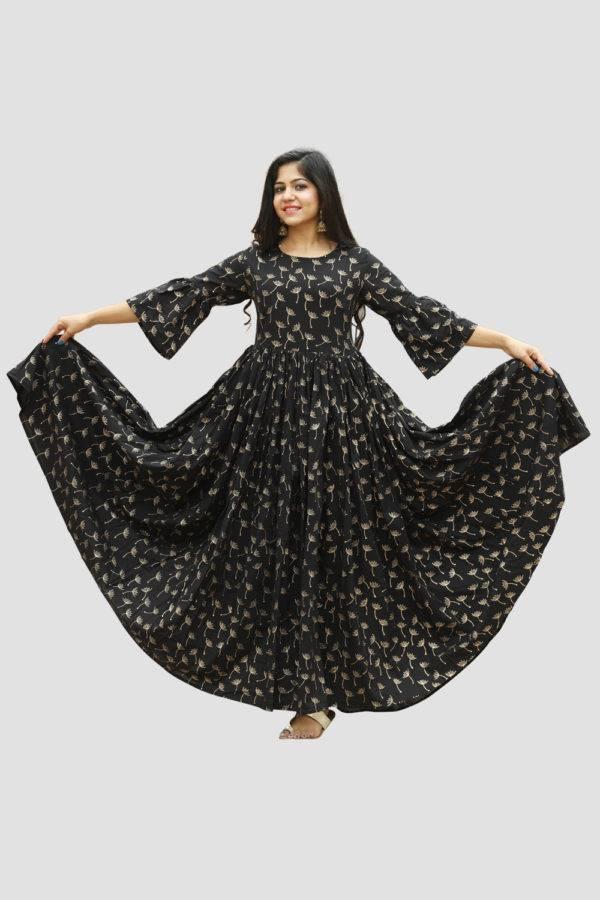 Black Block Print Dress3