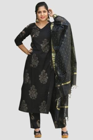 Black Block Print Suit Set5