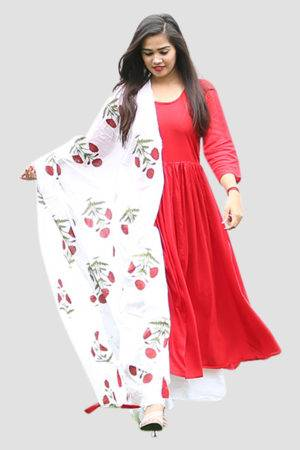 Red Solid Kurta And Printed Palazzo Set1