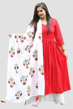 Red Solid Kurta And Printed Palazzo Set3