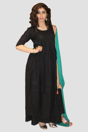 Black Solid Kurta Set With Dupatta3
