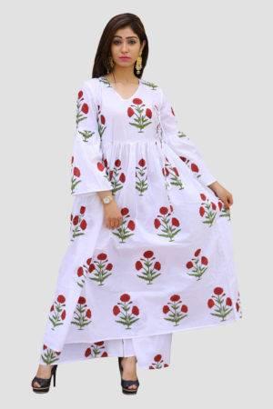 White Block Print Dress3