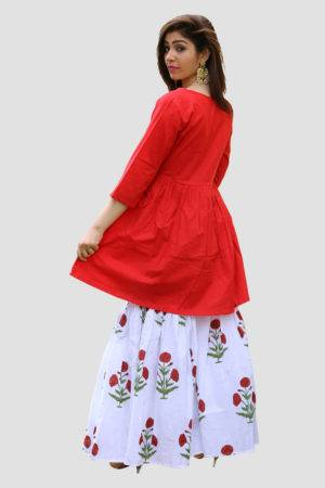Red Kurta & Block Print Sharara Set1