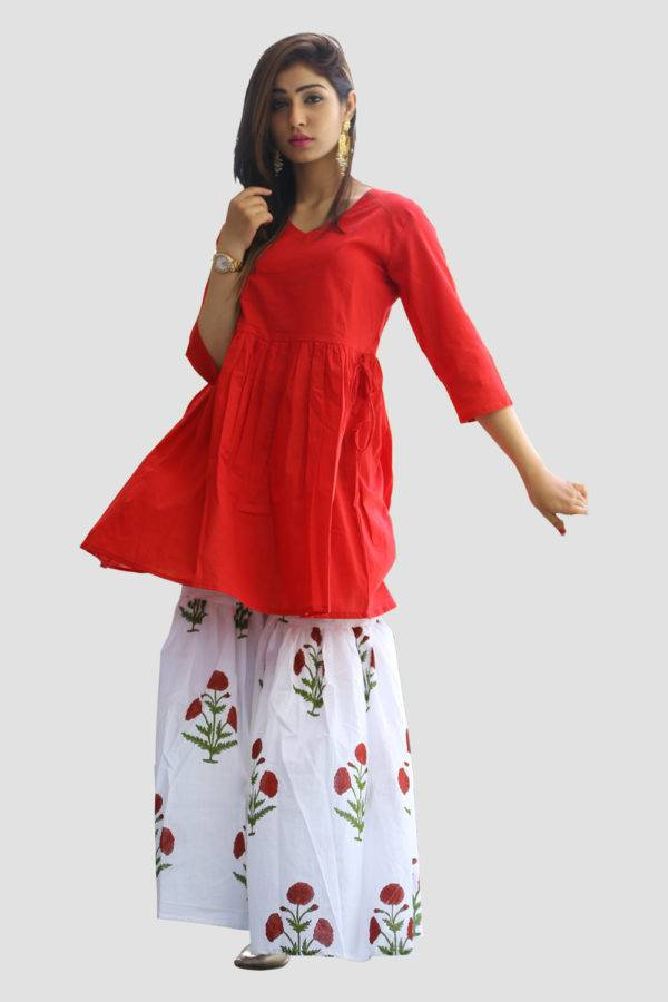 Red Kurta & Block Print Sharara Set2