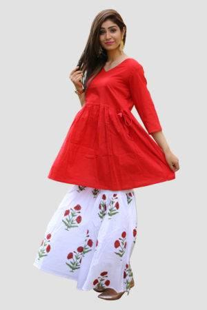 Red Kurta & Block Print Sharara Set3