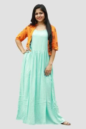 Aqua Blue Dress With Block Print Jacket1