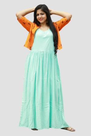 Aqua Blue Dress With Block Print Jacket2