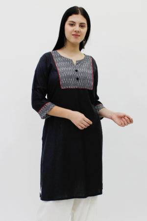 Yoke Design Black Kurti