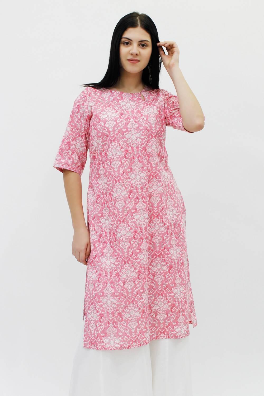 Pink Cotton Straight Kurti