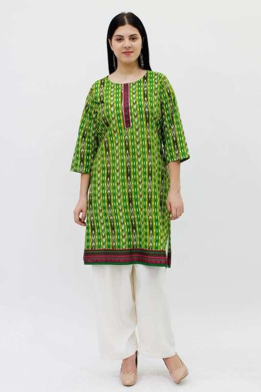 Green Printed Straight Kurti