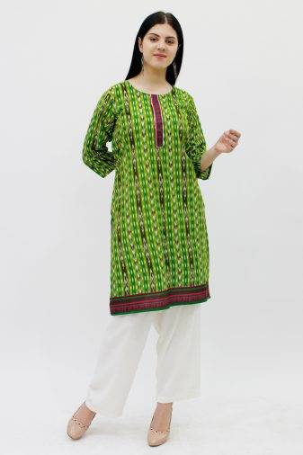Green Printed Straight Kurti