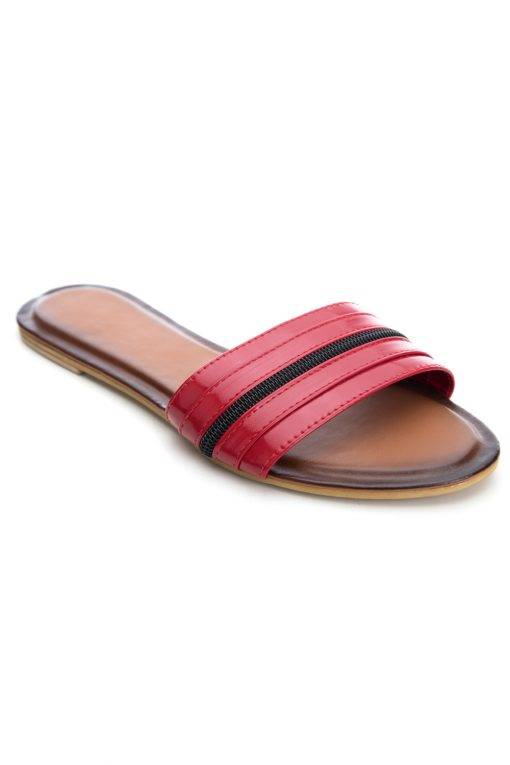 Red Patent Glossy Flat Slide Sandals1