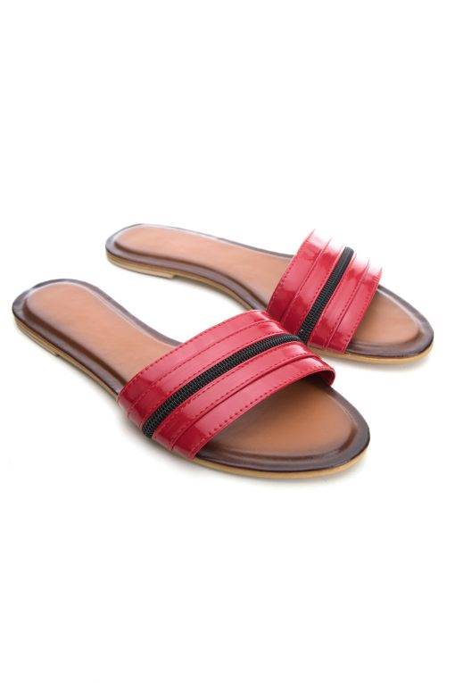 Red Patent Glossy Flat Slide Sandals2