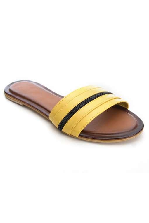 Yellow Patent Glossy Flat Slide Sandals1