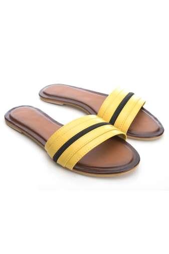 Yellow Patent Glossy Flat Slide Sandals2