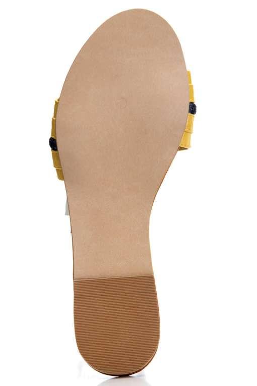 Yellow Patent Glossy Flat Slide Sandals5