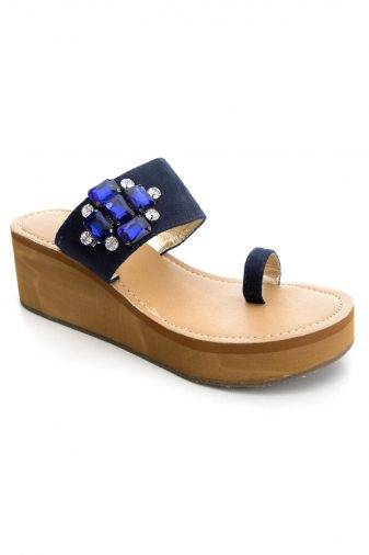 Blue Brooch Suede Strap Wedges1
