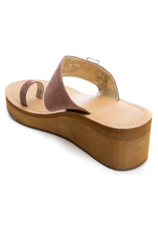 Pink Brooch Suede Strap Wedges4