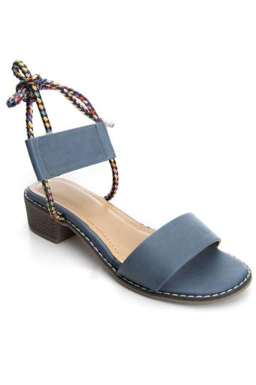 Suede Tie-Up Heeled Sandals1