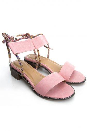 Pink Suede Tie-Up Heeled Sandals