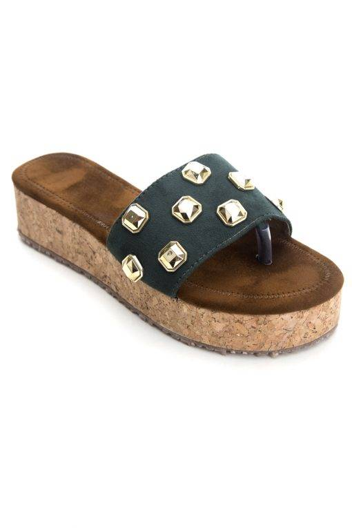 Metallic Studded Suede Flatform Wedges1