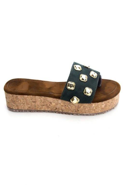 Metallic Studded Suede Flatform Wedges3