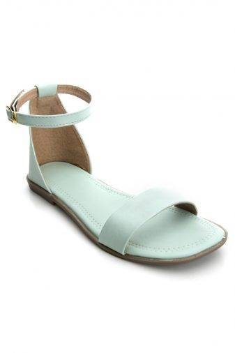Green Fashion Strap Flat Sandals1