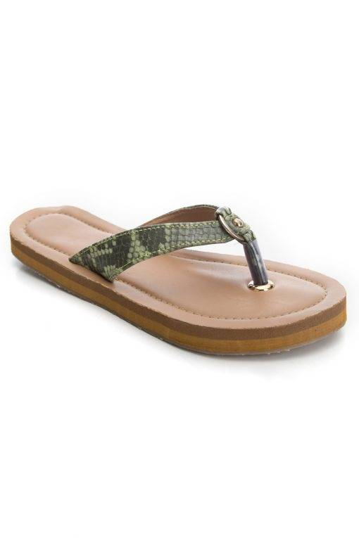 Green Buckle Snake Leatherite Sandals1