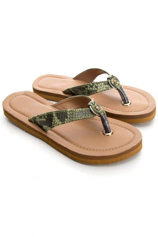 Green Buckle Snake Leatherite Sandals2